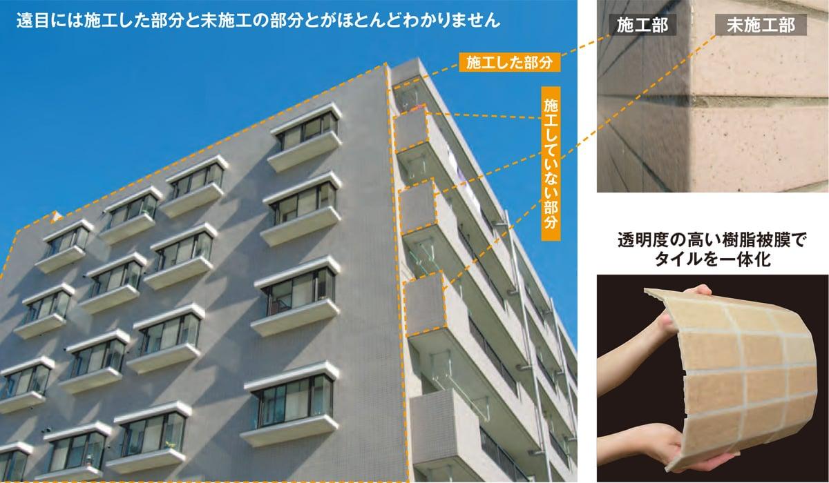 高い耐久性で外壁タイルの剥落を防止します